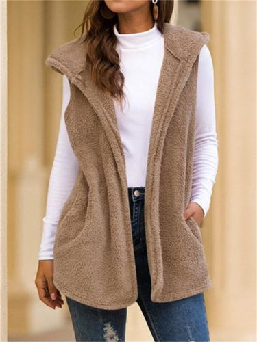 Women's Sleeveless Mid-Length Solid Color Hooded Fuzzy Vest Jacket