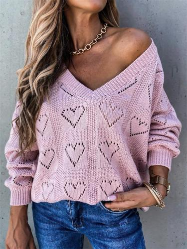 Creative Heart-Shaped Hollow Design Solid Color V-Neck Loose Knit Sweater