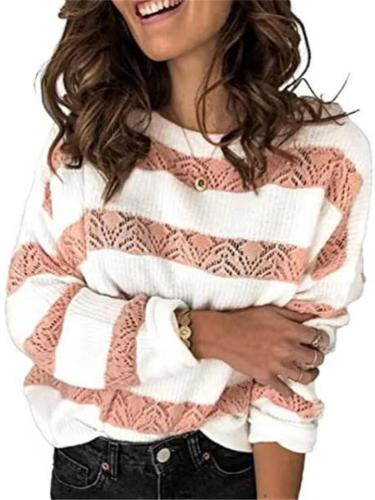 Pullover Style Color-Blocking Striped Hollow Design Round Neck Knitted Sweater