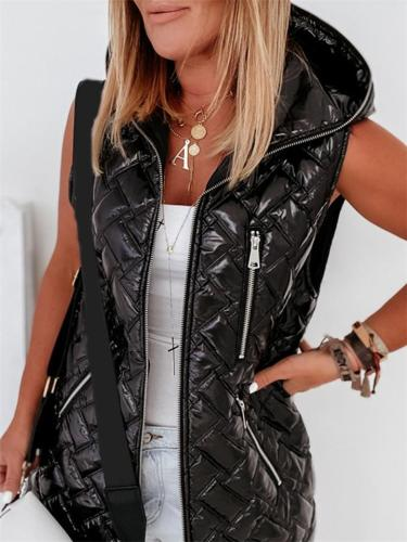 Womens Comfy Down Vest Thick Hooded Sleeveless Zipper Long Coats
