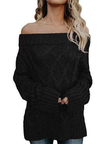 Comfortable Twist Knit Warm Off-Shoulder Sweater