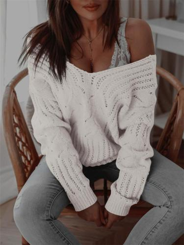 Womens Stylish V-Neck Casual Loose Knit Sweater