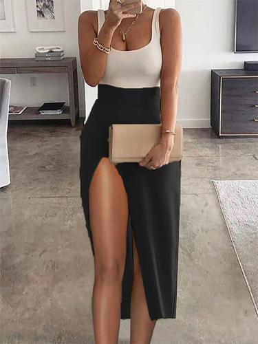 Women's Sexy High-Waist Contrast Color Slim-Fit Charming High-Slit Dress