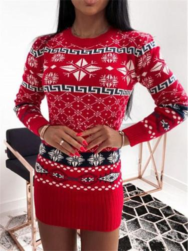 Women's Comfy Geometric Pattern Knitted Bodycon Mini Sweater Dress