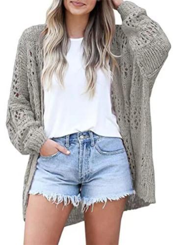 Women's Open Front Knitwear Lantern Sleeve Basic Knit Cardigan Sweater Tops