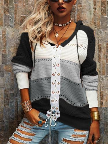 Stylish Striped Front Lace-Up Contrast Color Design Hooded Sweater