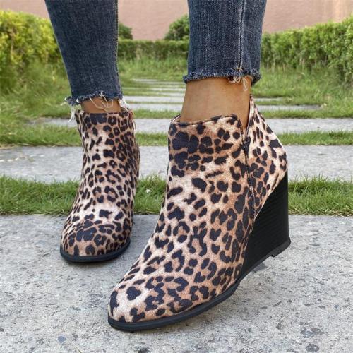 Women's Sexy Leopard Print Side Zipper Wedge Heel Martin Boots