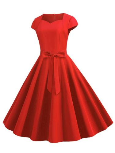Casual 1950S Short Sleeve Solid Color Graceful Swing Dress