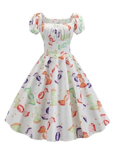 Casual 1950S Printed Short Sleeve Square Neck Swing Dress