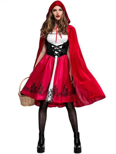 Women's Red Color Hooded Halloween Cosplay Costume
