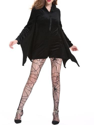Womens Halloween Vampire Witch Dark Bat Costume Uniform