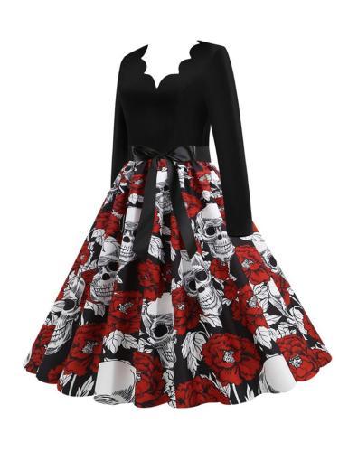 Casual V-Neck 1950S Long Sleeve Halloween Design Skulls Printed Swing Dress