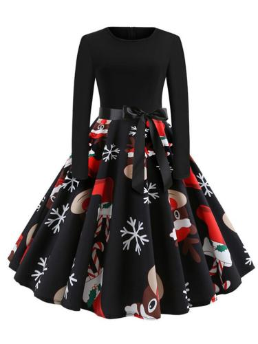 1950S Vintage Casual Style Round Neck Christmas Pattern Design Swing Dress