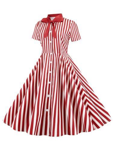 1950S Vintage Style Short Sleeve V-Neck Slim Swing Dress