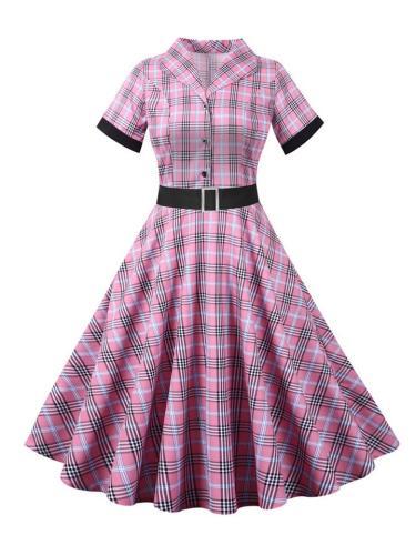 Vintage 1950S Slim Short Sleeve Turndown Collar Plaid Swing Dress With Belt