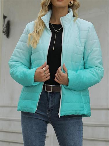 Women's Cozy Casual Contrast Color Zipper Coat