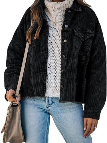 Casual Loose Long Sleeve Solid Color Simple Style Jacket With Pockets