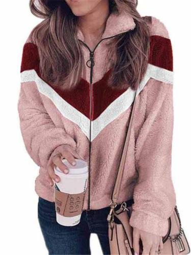 Fashion Casual Contrast Color Zipper Hoodie Cozy Coat For Women