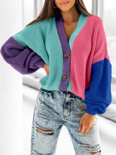 Women's Fashionable Casual Contrast Color Loose Short Cardigan Sweater