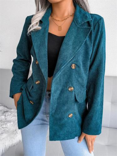 Trendy Simple Style Solid Color Double Breasted Coat