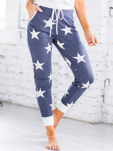 Casual Simple Style Stars Printed High Waist Drawstring Pants For Women