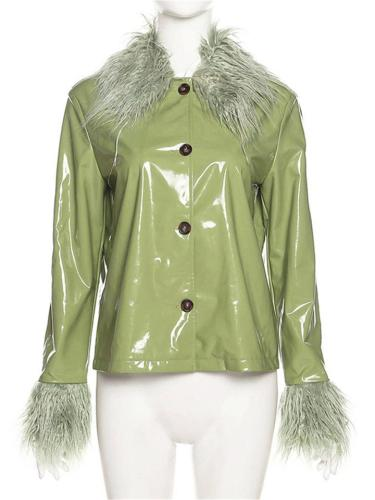 Fashionable Slim Long Sleeve Solid Color PU Leather Coat