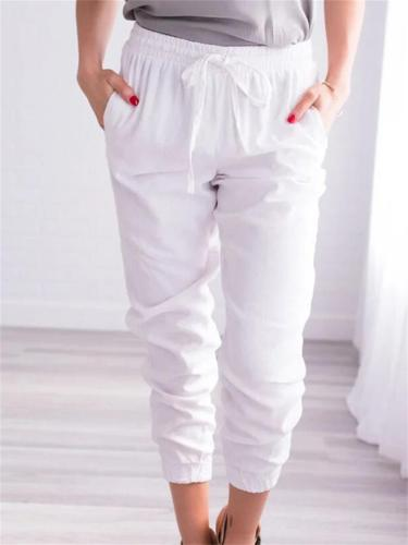 Women's Solid Color Loose Casual Ankle-Tied Cropped Trousers