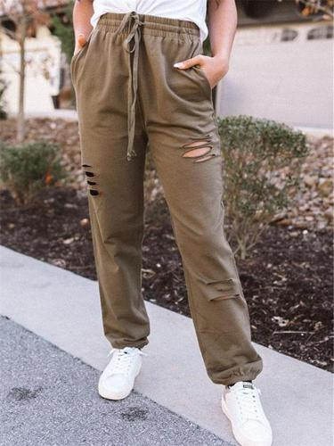 Women's Solid Color Fluffy Ripped Lace-Up Casual Long Pants