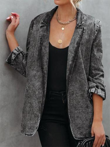 Casual Loose Stand Collar Solid Color Coat With Pockets For Women