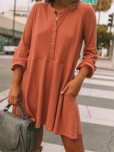 Women's Solid Color Casual Loose Corduroy Round Collar Long Sleeve Dress