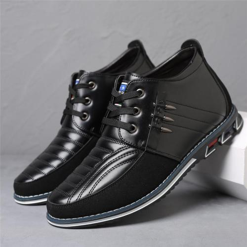 Casual Round-Toe Lace-Up Breathable PU Leather Loafers For Men