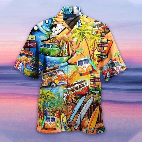 Tropical beach casual scenery shirt