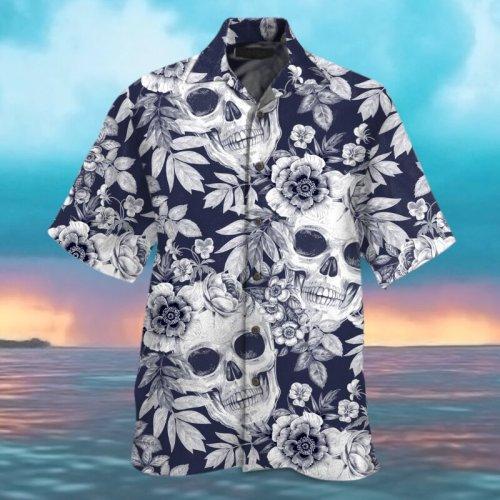 Casual skull flower print men's shirt