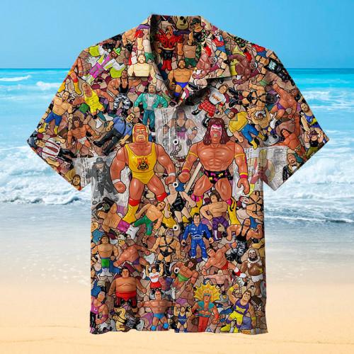 Wrestling Character Collage Art   Hawaiian Shirt