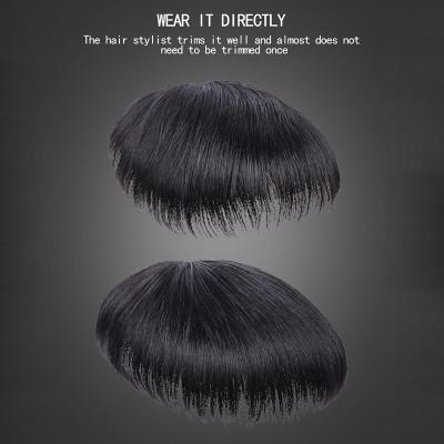 男士頭髮替換片,假髮套,頭部替換,前額禿髮替換發墊,接發,翻轉假髮,真發男發塊