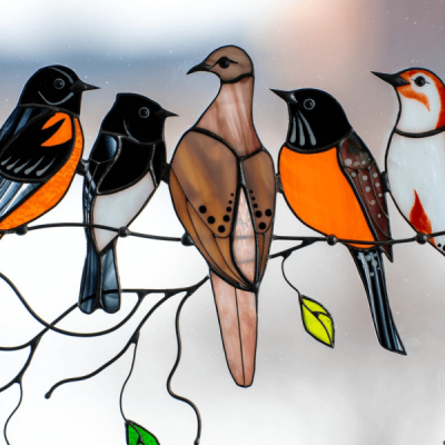 鳥彩繪玻璃窗飾–母親節禮物