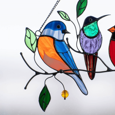Birds Stained Glass Window Hangings – Mothers Day Gift