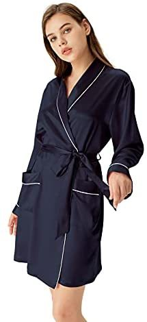 Women's Short Silk Kimono Robe, A three-quarter length V-Neck silk nightgown 100% mulberry silk Robes with White Trimmed