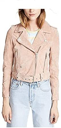 Womens Luxury Clothing Cropped Suede Leather Motorcycle Jacket