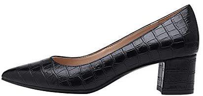 Women's Chunky Low Block Heels Closed Toe Dress Pumps Shoes