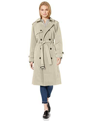 Women's 3/4 Length Double-Breasted Trench Coat with Belt