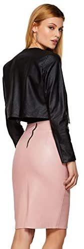 Women's Open Front Casual PU Leather Cropped Jacket Long Sleeve Bolero