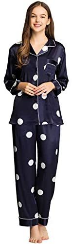 Womens Satin Pajama Set Button Down Sleepwear Long Pj XS-3XL