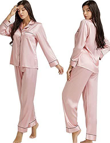 Womens Silk Satin Pajamas Set Button Down Sleepwear Loungewear XS~3XL