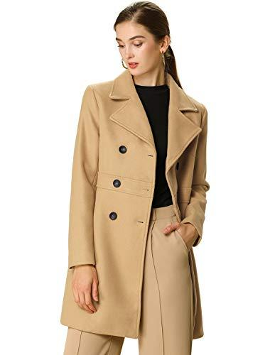 Women's Double Breasted Notched Lapel Long Winter Coats