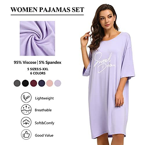Womens Nightgowns Short Sleeve Nightshirts Printed Round Neck Pajamas Soft Comfy Nightgowns Dress for women sleepwear S-2XL