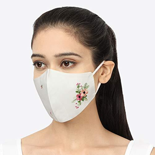 Cotton Cloth Face Mask for Women (Pack of 3, Free Mask Bag)