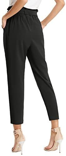 Women's Cropped Paper Bag Waist Pants with Pockets