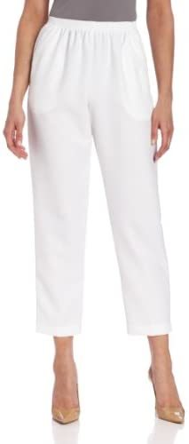 Women's Pull-On Style All Around Elastic Waist Polyester Cropped Missy Pants