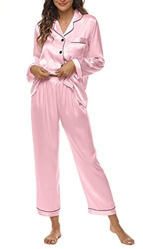 Silk Pajamas for Women Satin Sleepwear Two-Piece Set Pj Loungewear